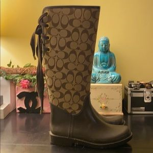 Tabs and Brown Coach Rain Boots